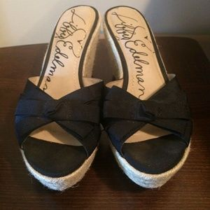 Libby Edelman Womens Black Woven Wedges With Bow